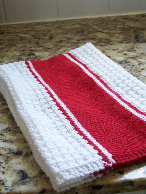 Hand Knit French Stripe Tea Towel Knitting Washcloths Pinterest