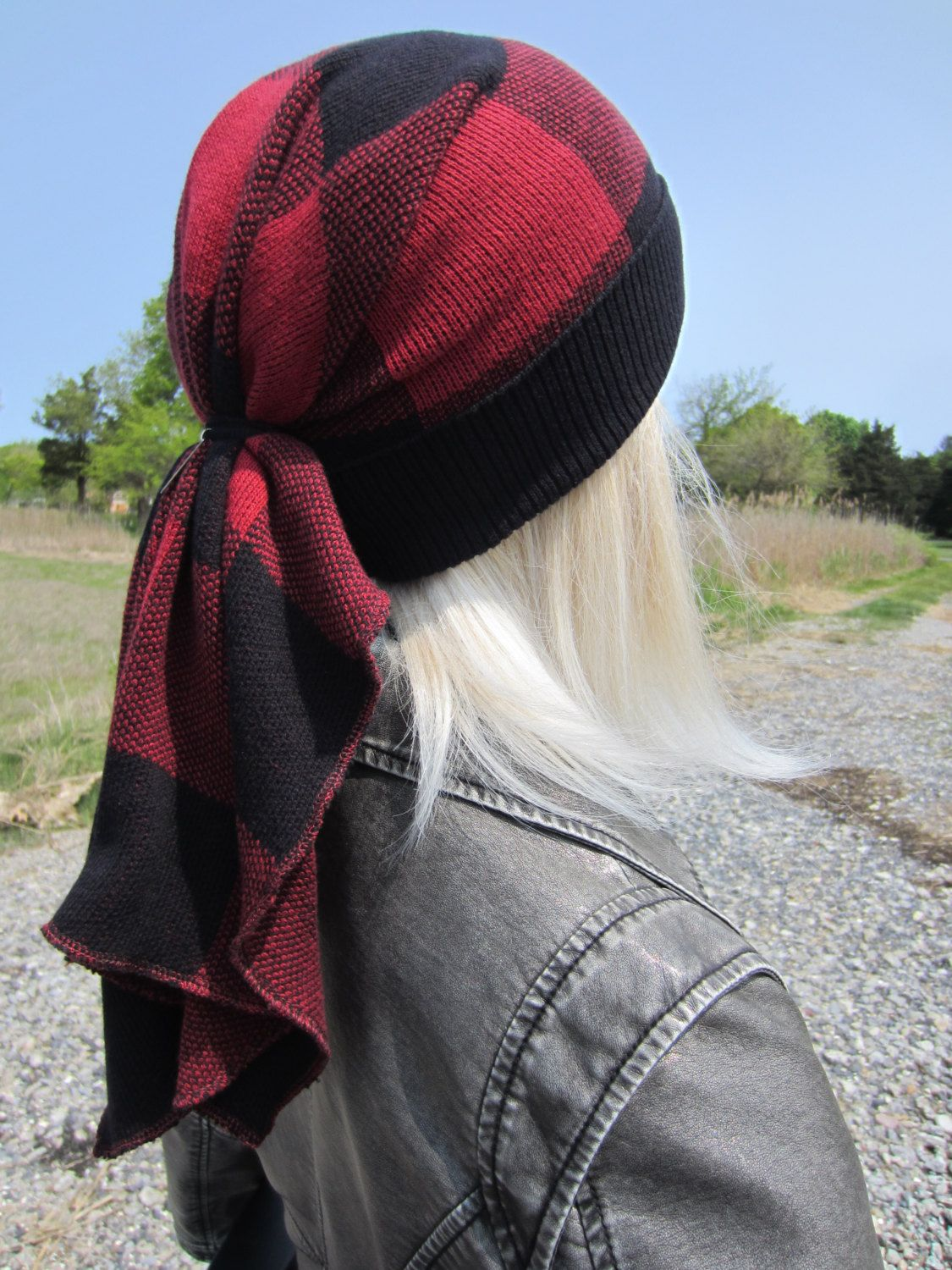 f367a950cfd4b Doo Rag Beanie Buffalo Plaid Black Red Cotton Knit Tie Back Tam Long  Oversized Ponytail Hat by Vacationhouse A1126 by Vacationhouse on Etsy