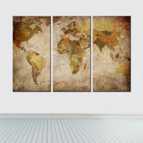 3 piece framelessframed world map canvas wall paintings 3 piece framelessframed world map canvas wall paintings gumiabroncs Choice Image