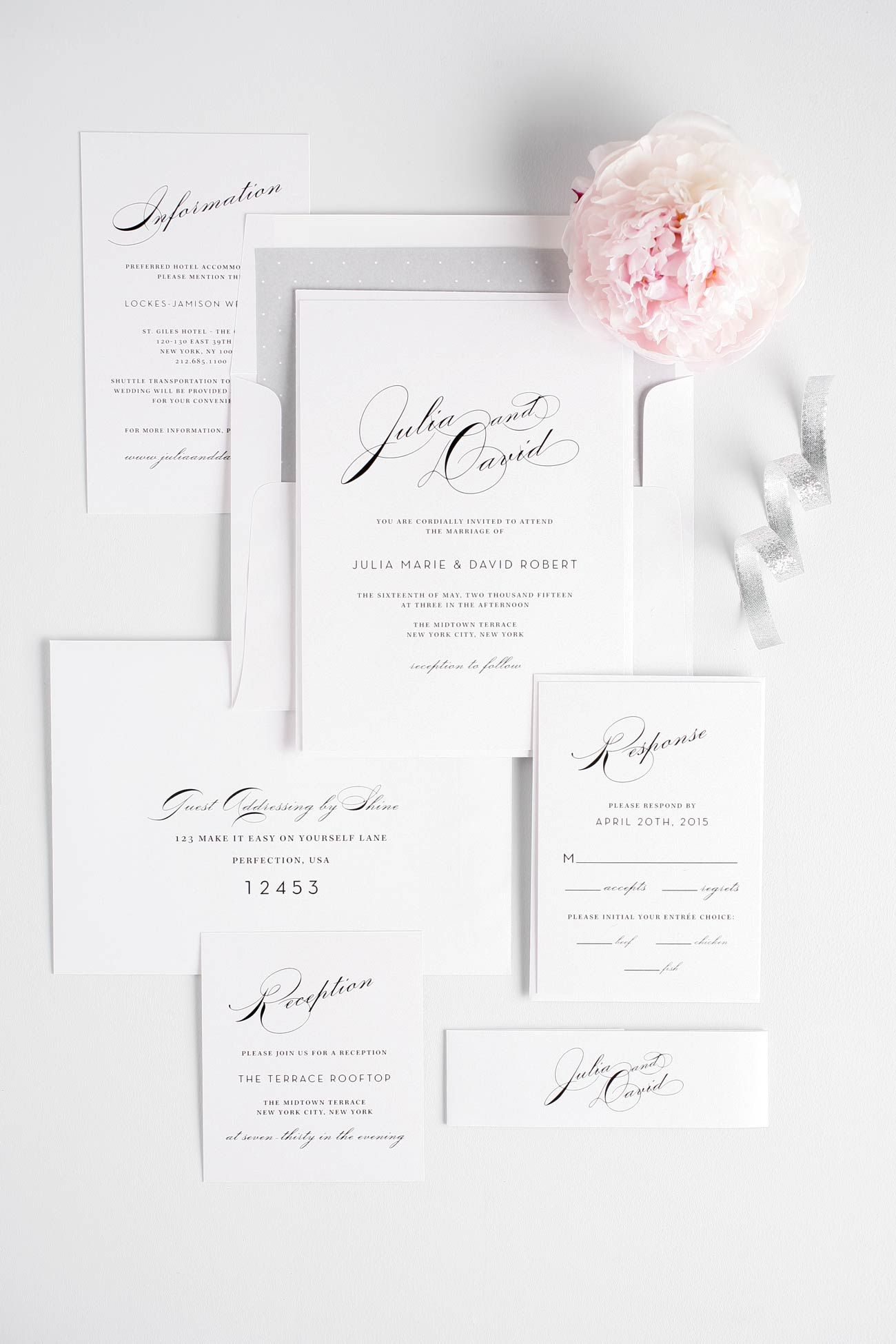 Vintage Typography Wedding Invitations in Silver | Vintage ...