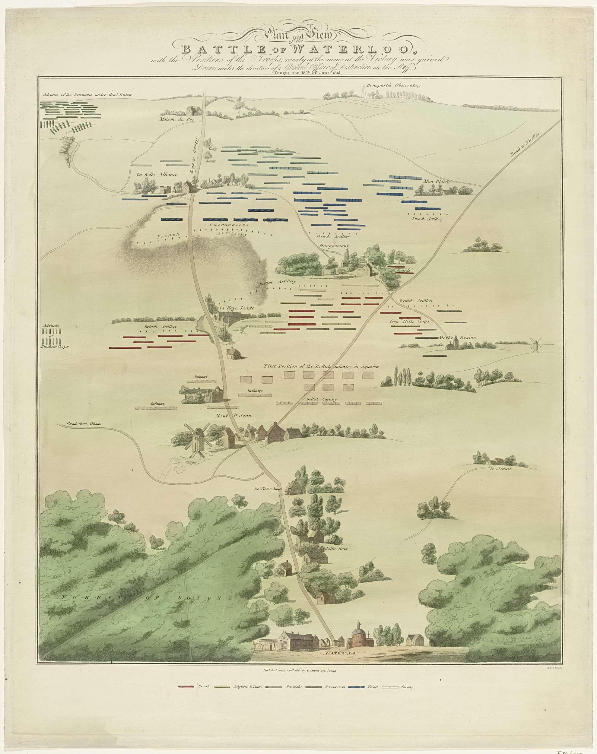 Kaart en gezicht van het slagveld van Waterloo, Neele, C. Smith, 1815