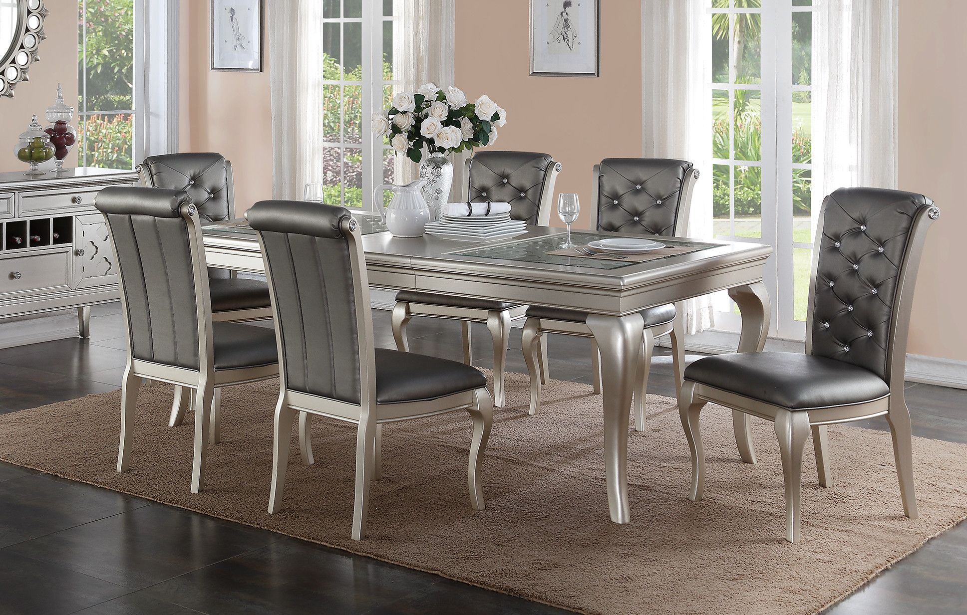 Hampton 7 Piece Dining Set Fabric Dining Chairs Luxury Dining Room Dining Room Table