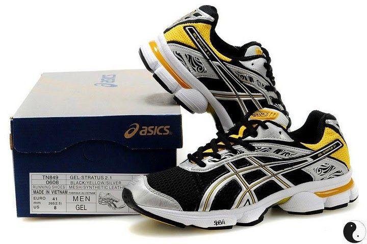 Men's ASICS GEL STRATUS 2.1 Running Shoes (Black Yellow