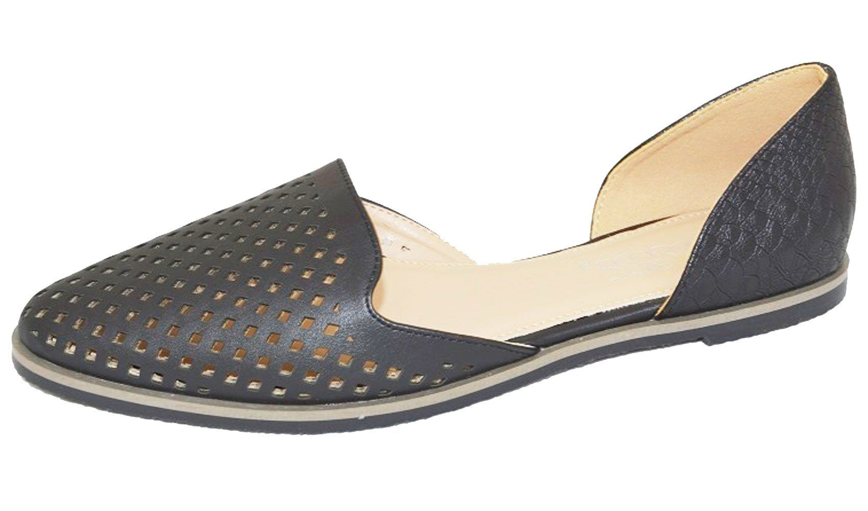 DBDK by Elegant Footwear Women's Beatrice-1 D'Orsay Flats (7.5 B(M) US, Black). Laser Cut Detailing Across Foot. D'Orsay Style. Easy Slip on Design & Pointed Toe. Faux Snake Pattern Detail on Heel. Imported.