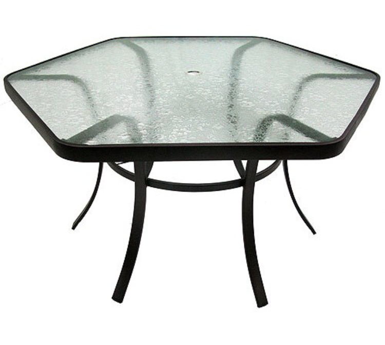 One In Stock Hexagon Glass Patio Table 62 W X 29 5 H Patio