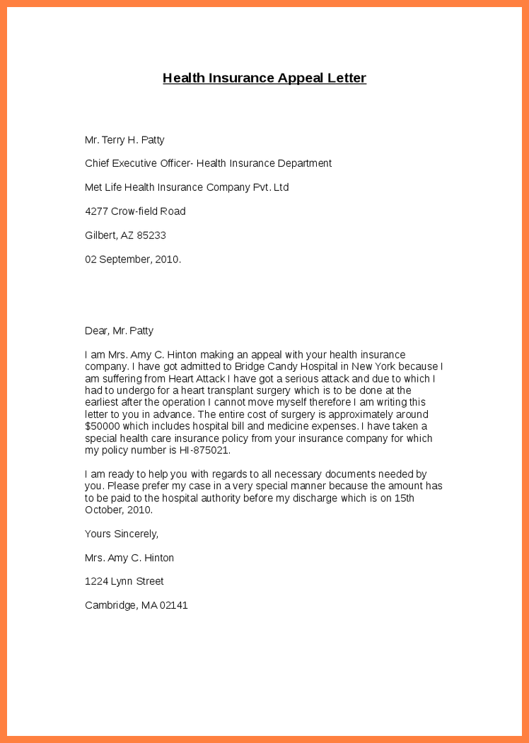 health insurance appeal letter template best business