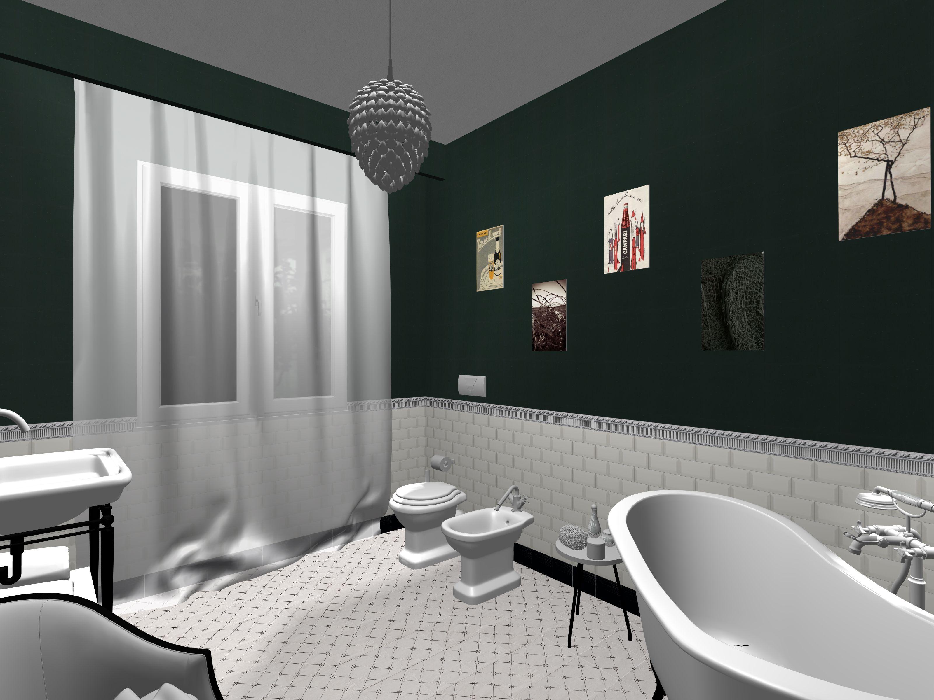 Bagno realizzato in stile retro chic piastrelle da rivestimento diamantate bianche lucide 7 - Piastrelle bianche bagno ...