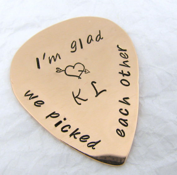 7th Wedding Anniversary Gift Ideas For Her: Personalized Guitar Pick, Copper 7th Anniversary Gift