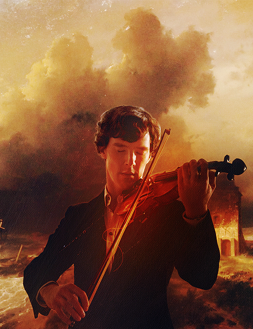 Sherlock playing his violin, a beauty by whoever created it.
