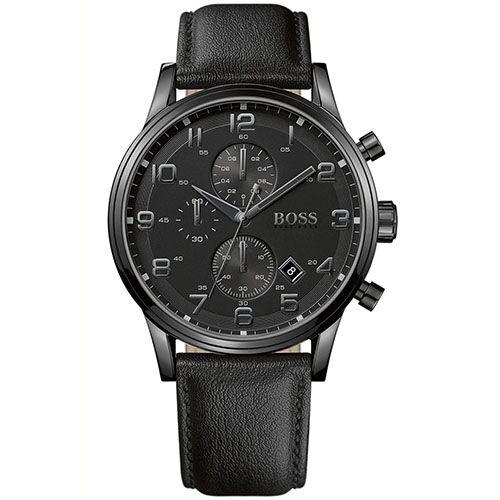 cd7bb12cf42 Relógio masculino Hugo Boss com pulseira em couro preto e caixa de aço -  1512567