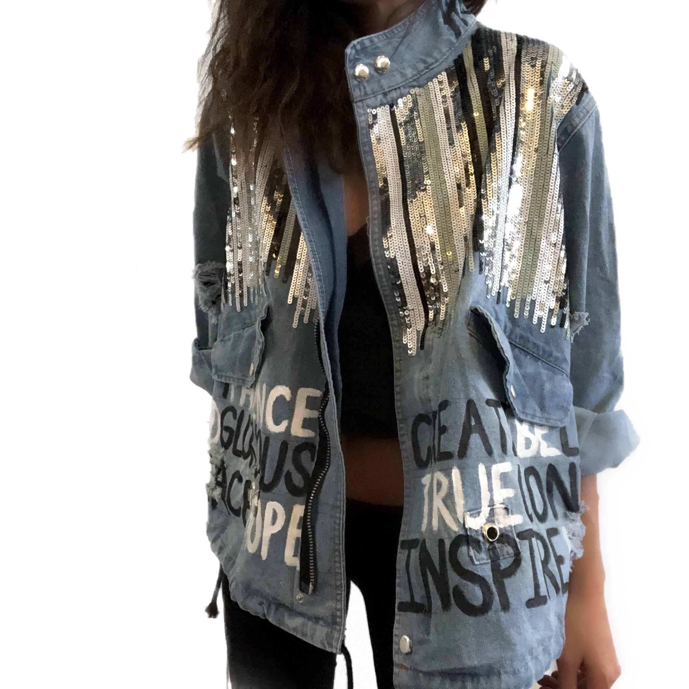 Positive Vibes Denim Jacket Denim Jacket Jackets Fashion [ 2320 x 2320 Pixel ]