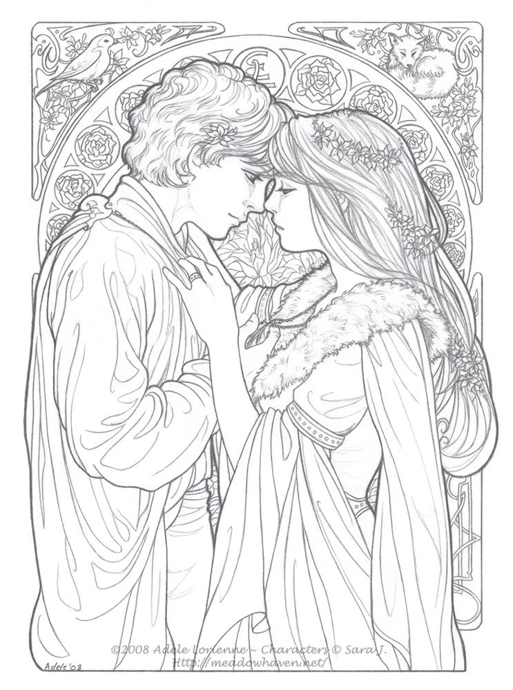 Art Nouveau Style - Be Mine Always - boy and girl Line art #love ...