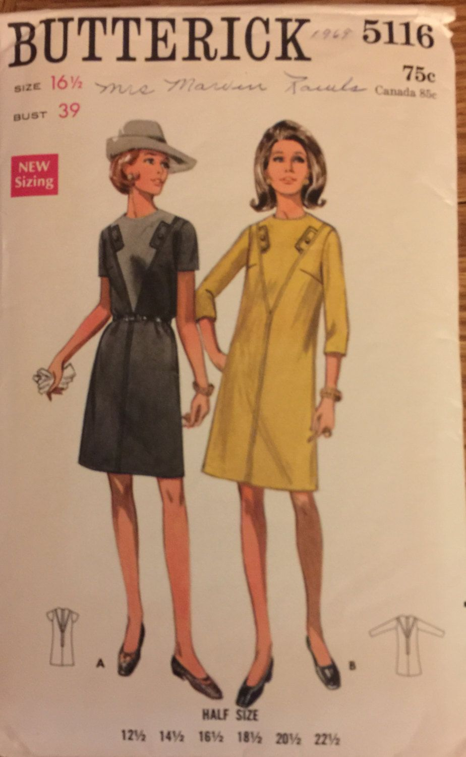 "VTG 5116 Butterick (1969) slim dress w/sleeve length options.  Size 16-1/2, Bust 39"". Complete, unused, neatly cut/FF. Excellent condition. by ThePatternParlor on Etsy"