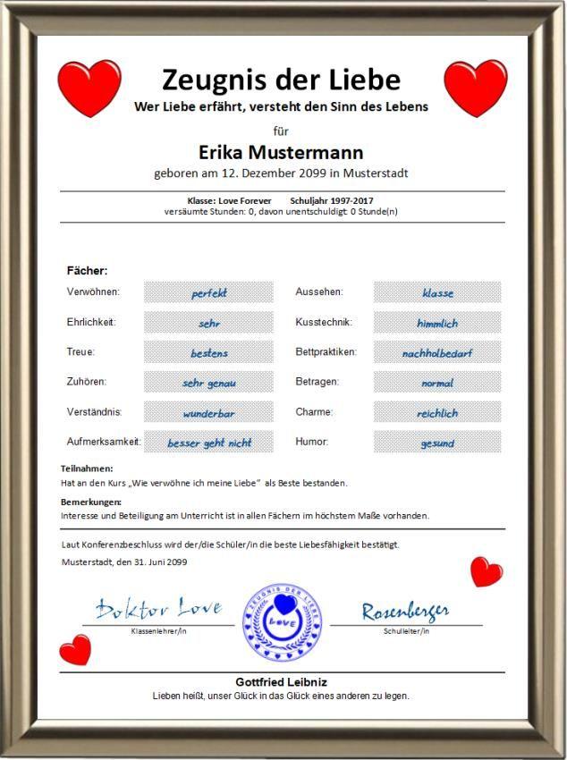 Zeugnis der Liebe   Urkunden-Shop24