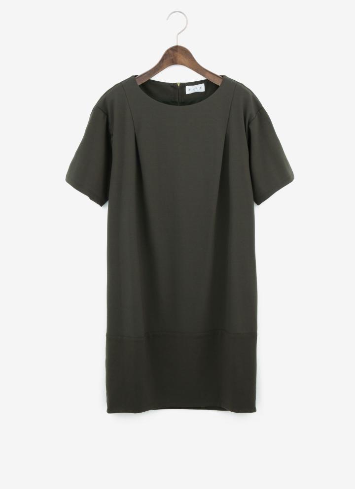 PLST ポンチバックジップ半袖ボトルドレス
