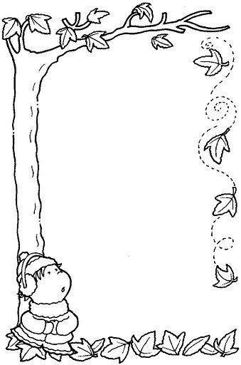 Peques y pecas marcos con hojas para colorear hojas for Cenefas para dibujar