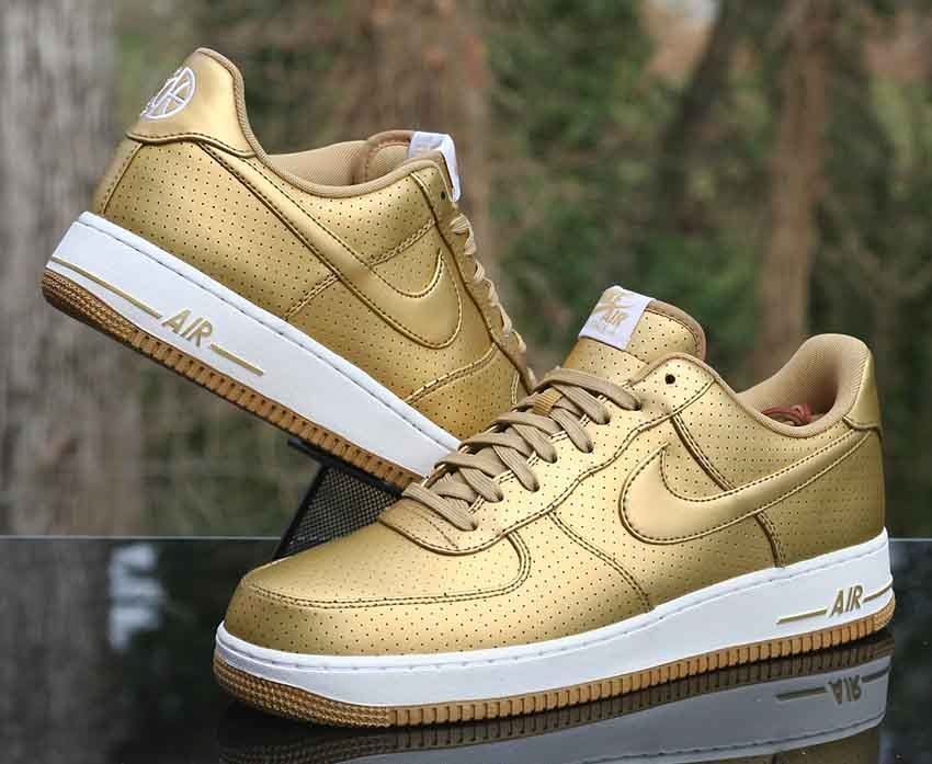 Nike Air Force 1 '07 LV8 Low AF1 Metallic Gold White 718152 ...