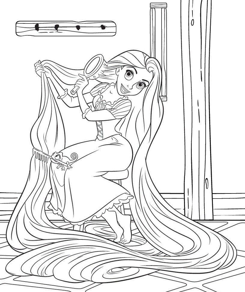 Princess Combing Hair Coloring Pages Pinterest Ausmalen