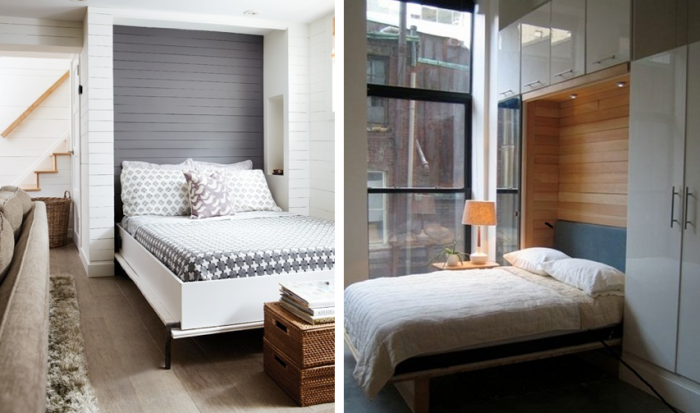 White wood panelled room where pull down murphy bed reveals gray panels, pull down murphy bed with built in down lights