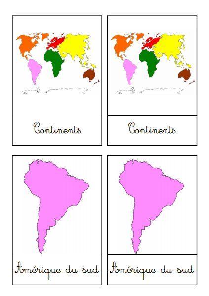 Les Continents Carte Montessori Geographie Et Ateliers