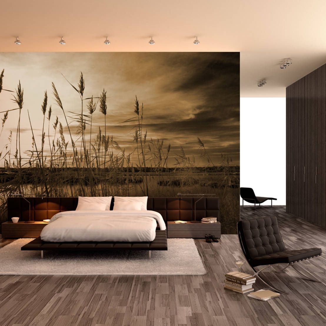 Tranquil, simple, minimal and classic style bedroom with huge wallart. Wall & floor coverings by For-Arte, Lda