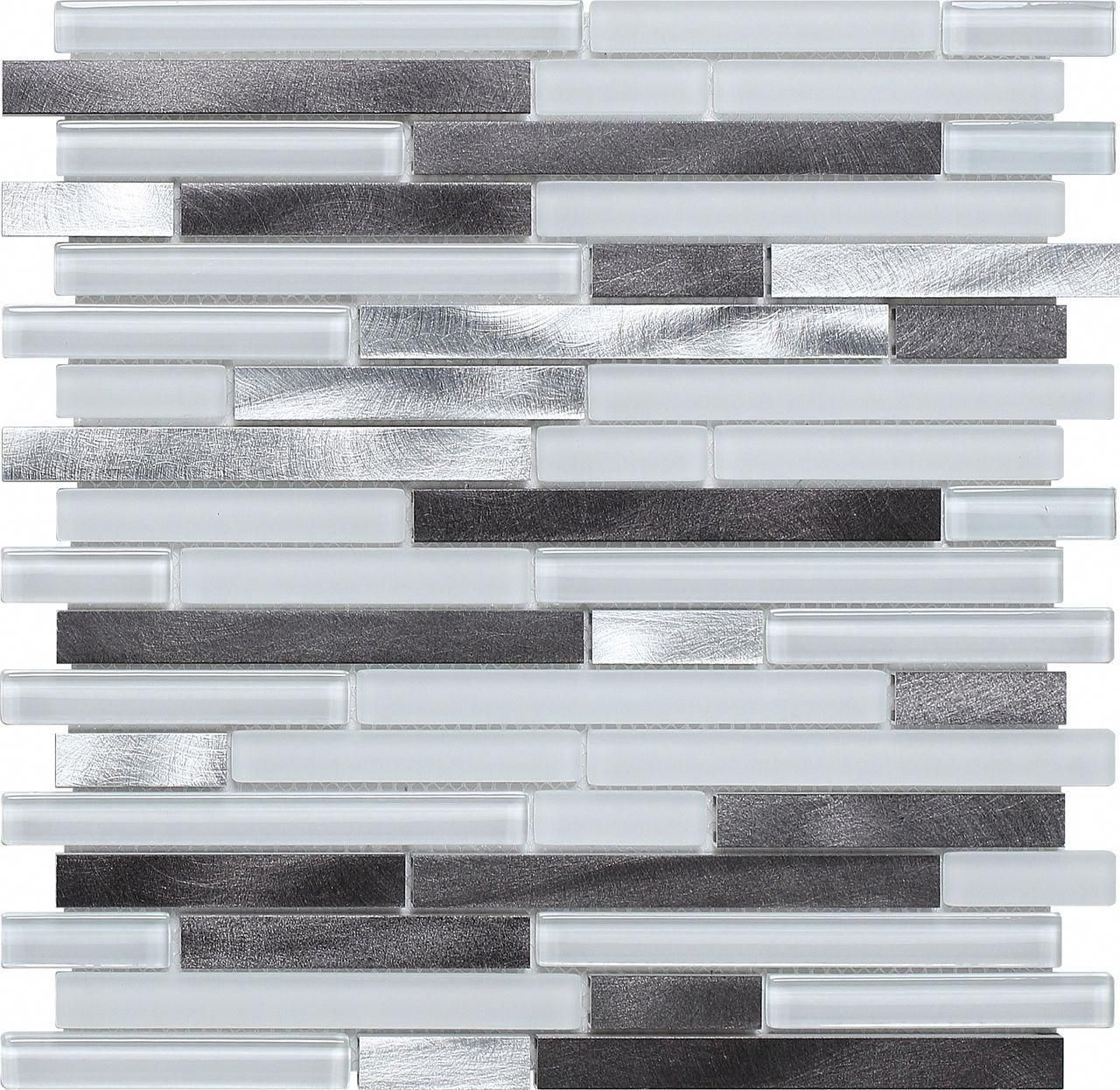 Glass And Metal Mosaic Tile Arctic Blend Mesh Mounted On A 12x12 Fiberglass Sheet For An Ea Metal Mosaic Tiles Contemporary Style Kitchen Glass Tile Backsplash