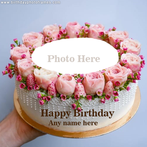 Online Happy Birthday Cake With Name And Photo Free Download Happy Birthday Flower Cake Happy Birthday Cakes Happy Birthday Cake Pictures