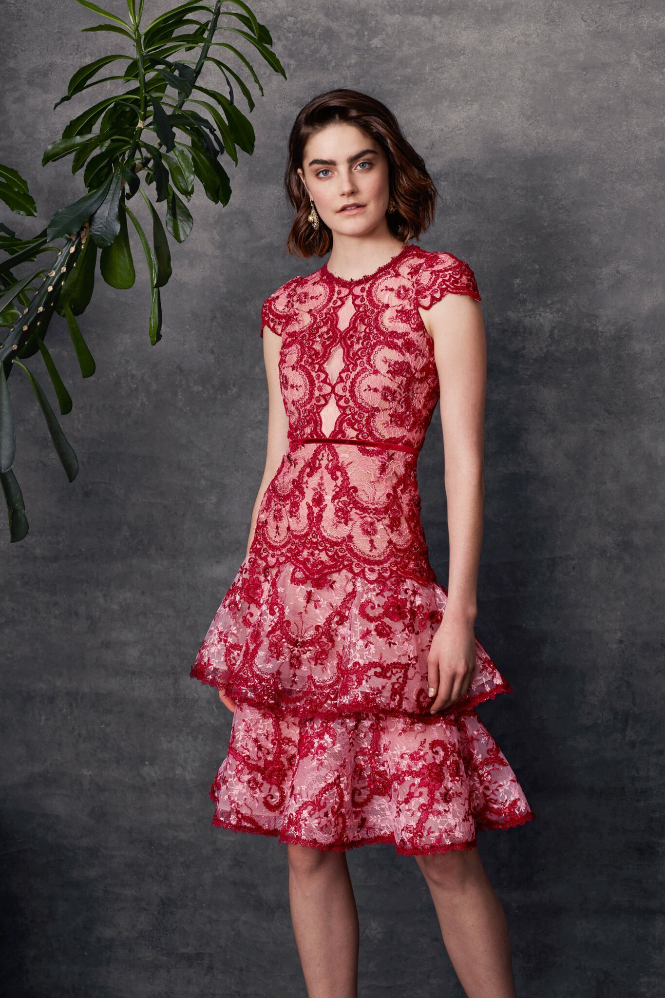 8f59be5636 Cap sleeve corded embroidered lace cocktail with tiered skirt and velvet  trims