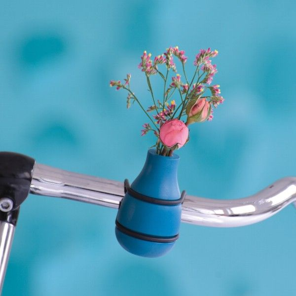 Fahrradlenker Vase Frieda türkis aus Holz, 13,90