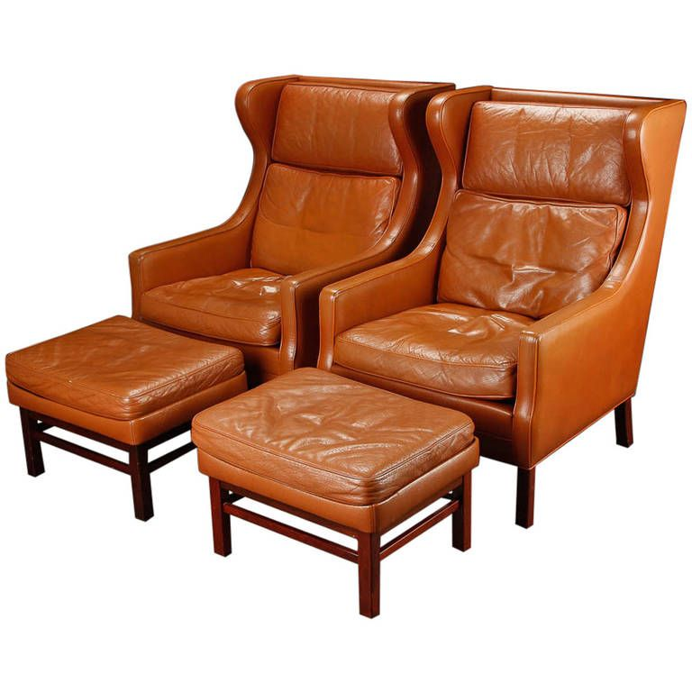 Pair of LargeScale Danish Modern Leather Wing Chairs and