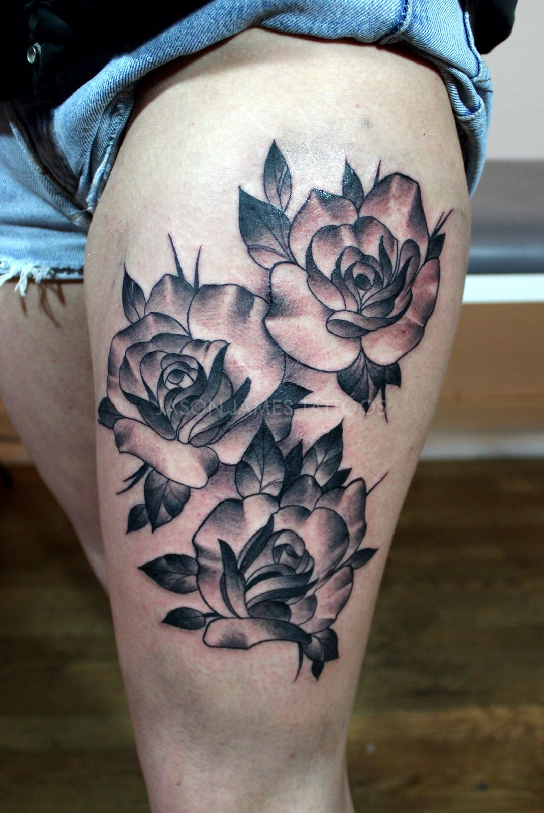 Neo Traditional Roses Tattoo By Jason James Rose Tattoos Flower