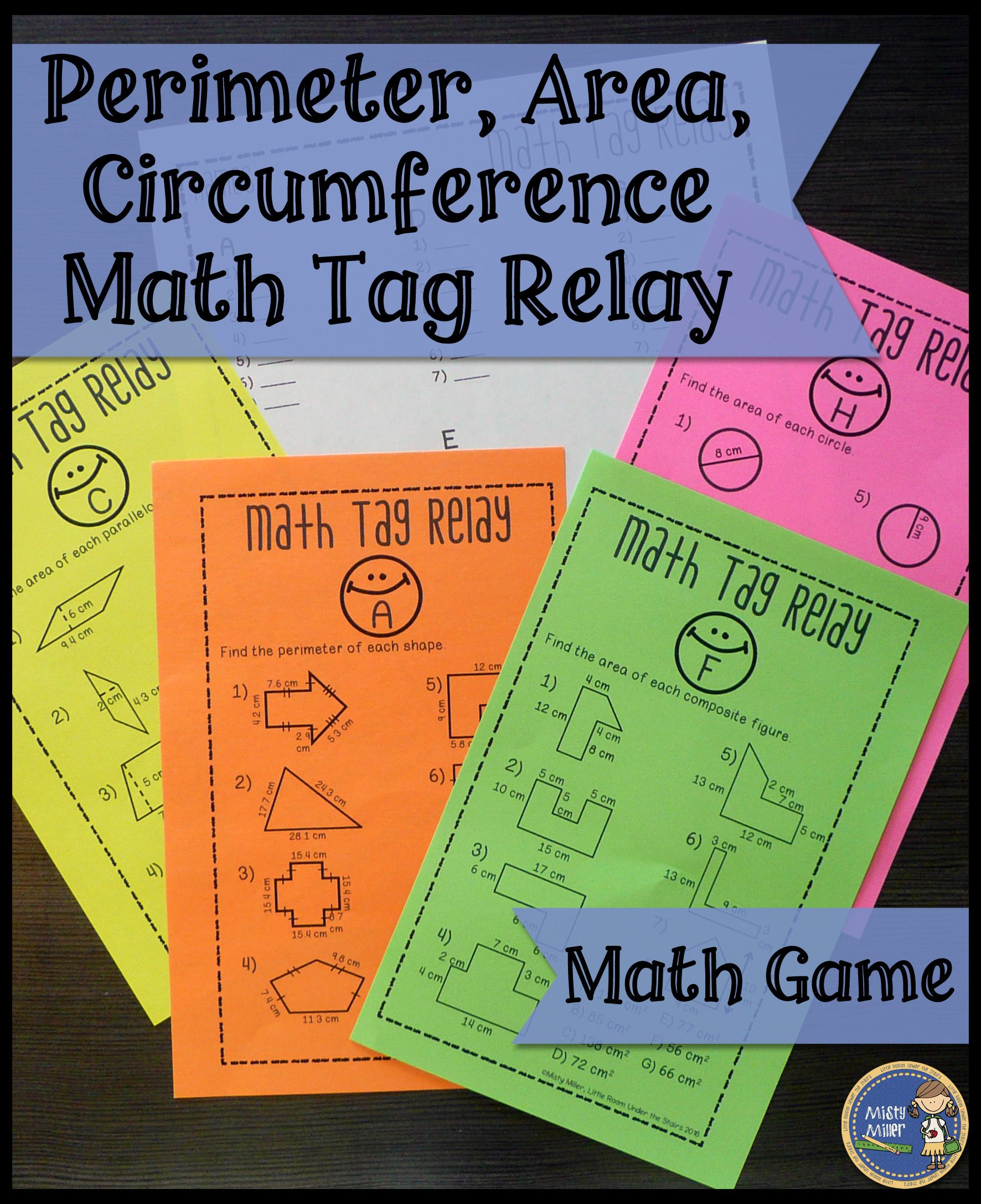 Perimeter Area Circumference Math Tag Relay