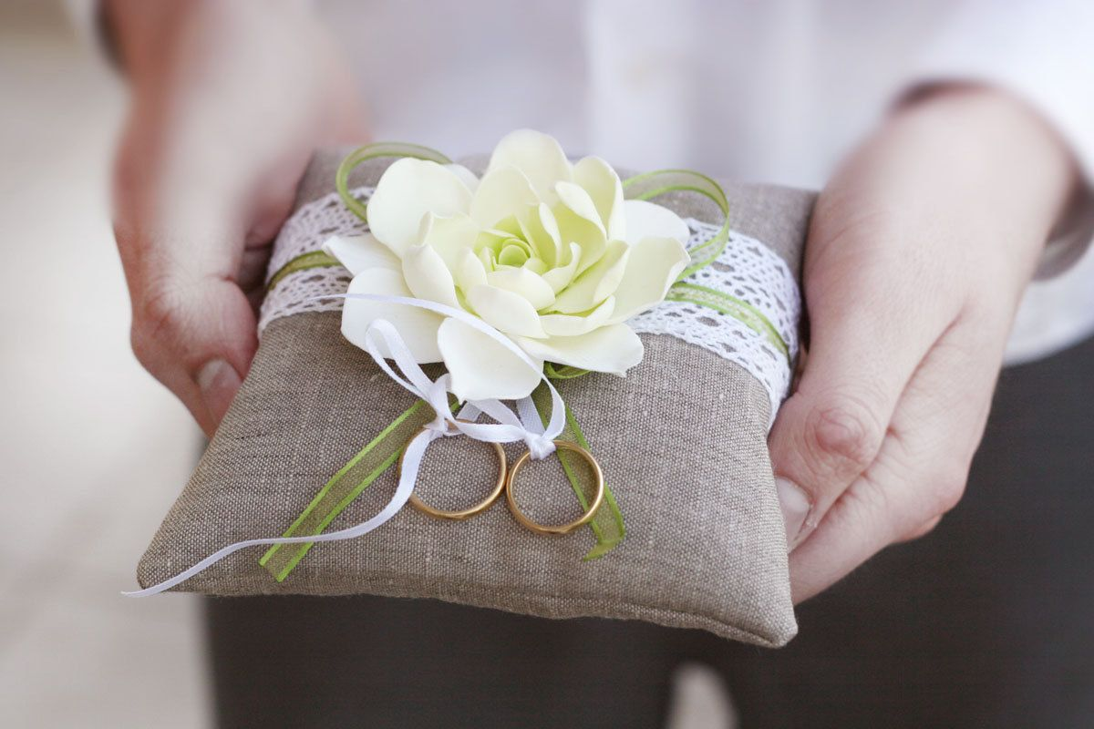 Obsessed with this rustic ring pillow linen handmade wedding ring
