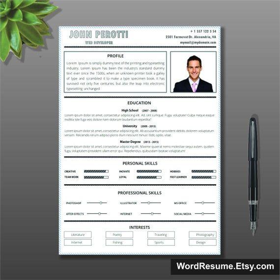 Simple Resume Template + Cover letter, CV Template , Instant Download, Teacher resume, Curriculum Vitae, Word template resume, Lebenslauf
