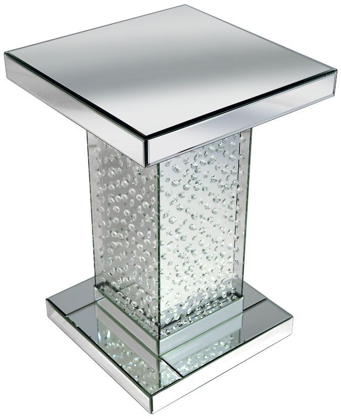 pharmore rhombus silver mirrored side table mfr5101