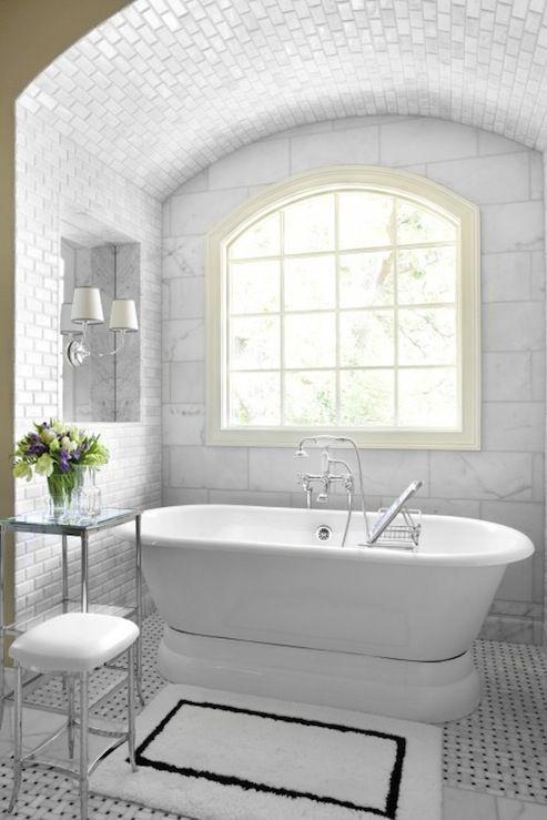 Bathrooms alcove marble basketweave tiles floor polished for Bathroom restoration ideas