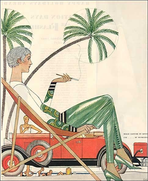 1929 Art Deco Woman in Beach Outfit under Palm Tree Auto ...