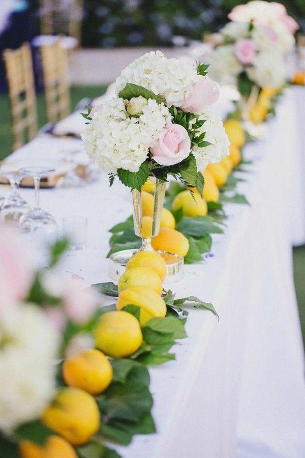 Hochzeitstafel mit Zitronen dekorieren  Deco Firma