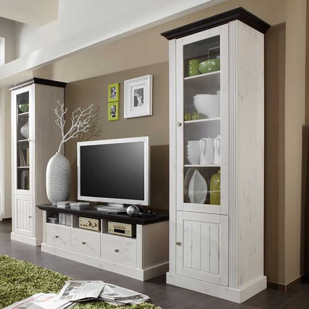 cheap landhaus wohnwand in wei braun kiefer massivholz teilig jetzt bestellen unter with wohnwand vollholz