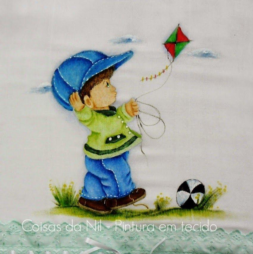 Favoritos Coisas da Nil - Pintura em tecido: A pipa voavoa..voa  HL28