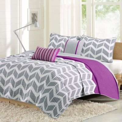 Intelligent Design Nadia Twintwin Xl Coverlet Set In Purplegrey
