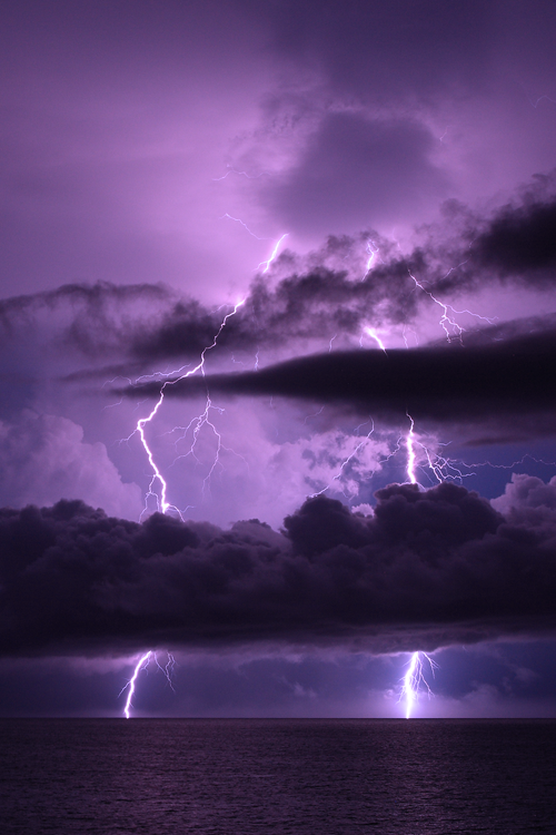 Purple Sky and Lightning by unripegreenbanana - Willoughby Owen