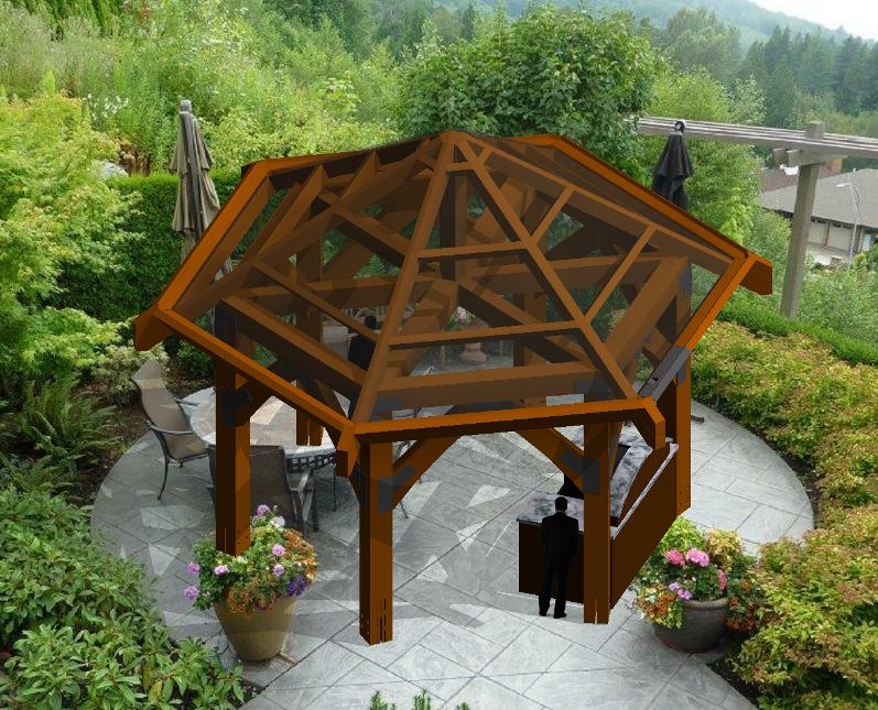 19 39 6 hexagon gazebo gazebos timber framing for Hexagon deck plans