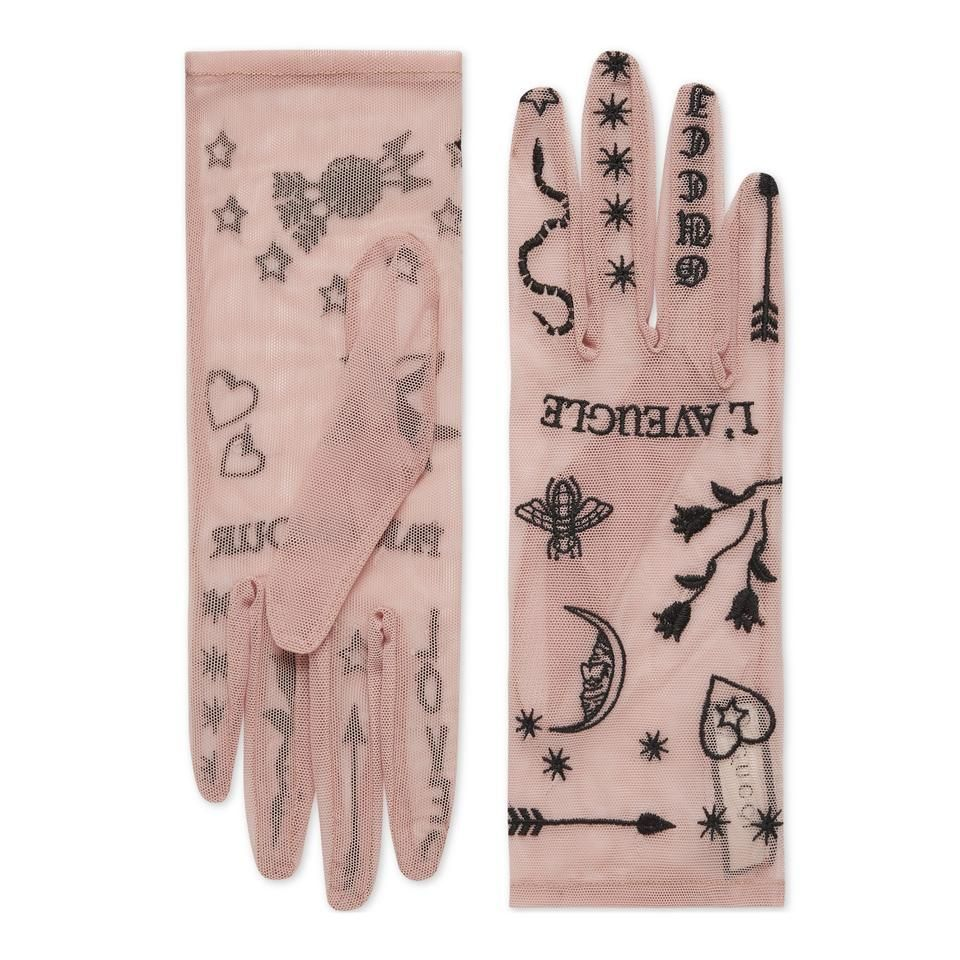 Gucci Pink Tulle Gloves with Symbols Embroidery Size 75 Gucci  Pink Tulle Gloves With Symbols Embroidery Size 75