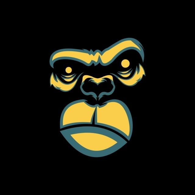 Gorilla Face Design Free Logo Design Template, Line, Scared, Colors PNG and Vector with Transparent Background for Free Download