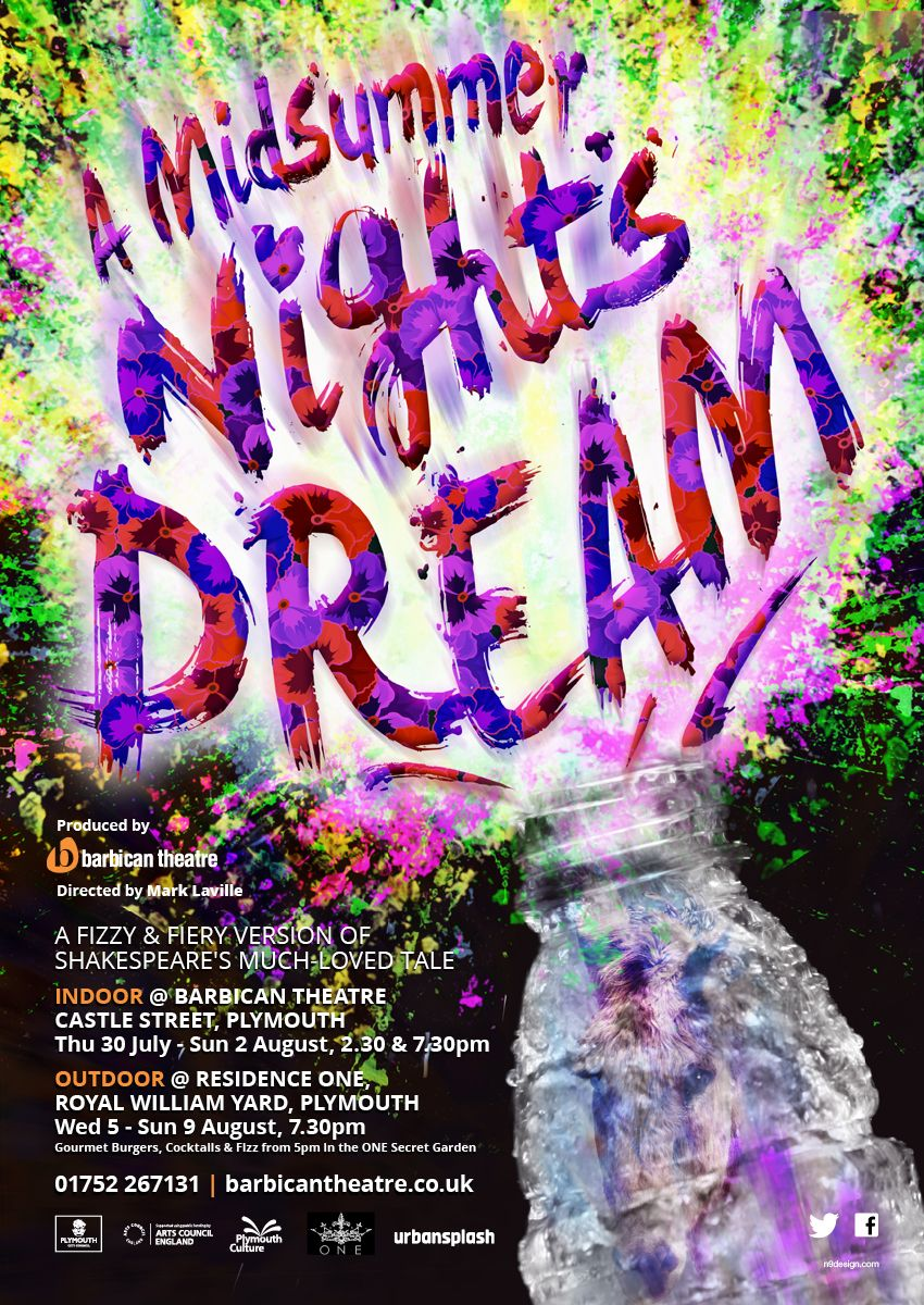 a midsummer nights dream theatre poster shakespeare design of theatre poster for a midsummer night s dream at barbican theatre plymouth 2015