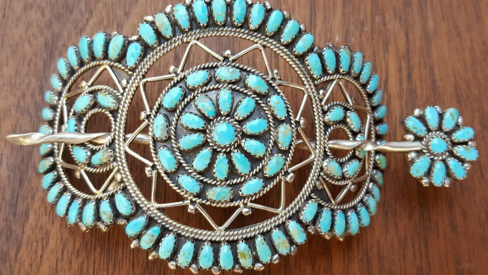 NAVAJO LARRY MOSES BEGAY STERLING SILVER PETIT POINT TURQUOISE HAIR BARRETTE