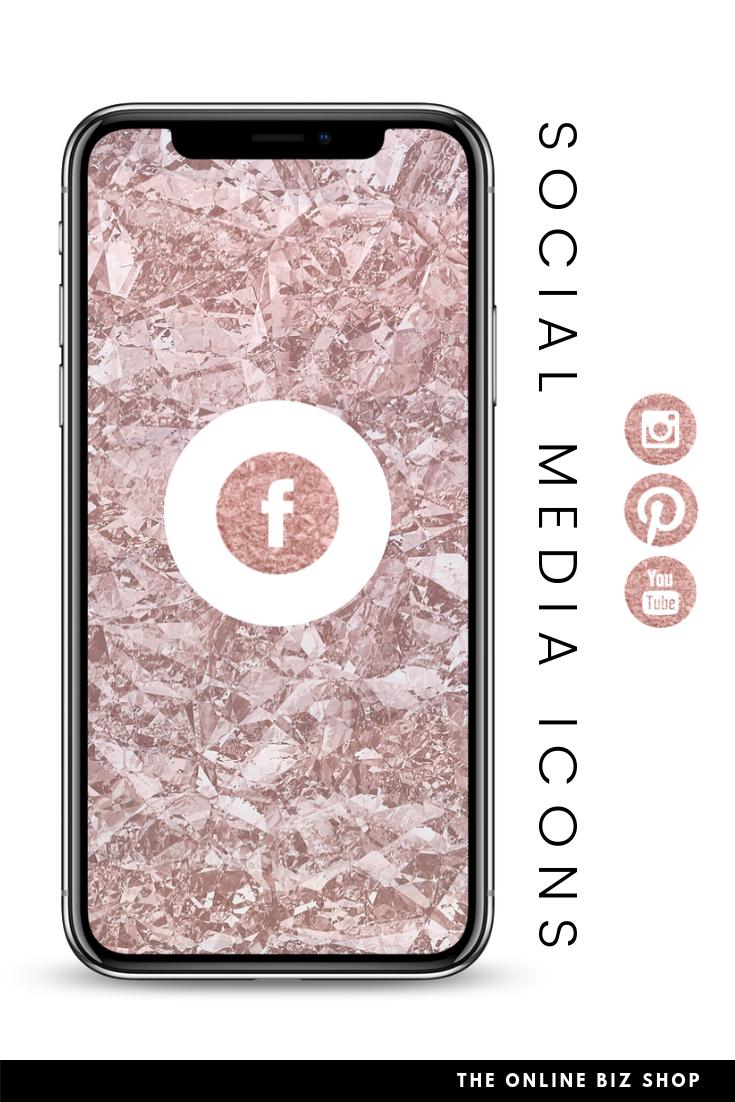 Rose Gold Social Media Icons Copper Foil Facebook Instagram Etsy Social Media Icons Media Icon Social Media