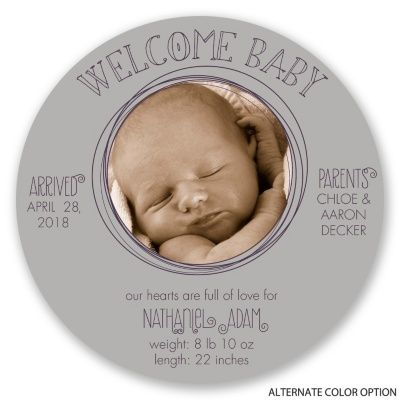 Well-Rounded Welcome Birth Announcements at Invitations By Dawn