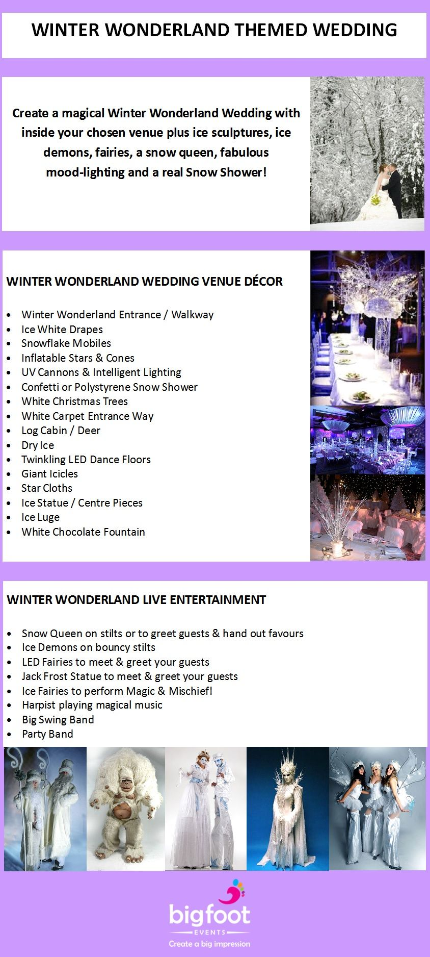 Create a magical Winter Wonderland Wedding with themed decor inside ...
